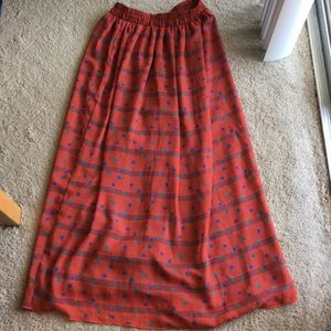 American Apparel Graphic Polka Dot Red Maxi Skirt